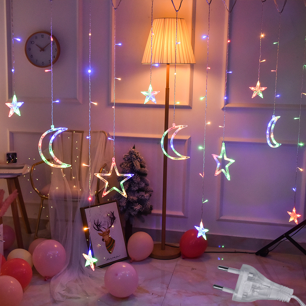 3 5M 220V LED Moon Star Lamp Christmas Garland String lights Fairy Curtain light Outdoor For Holiday Wedding Party Decoration in LED String from Lights Lighting