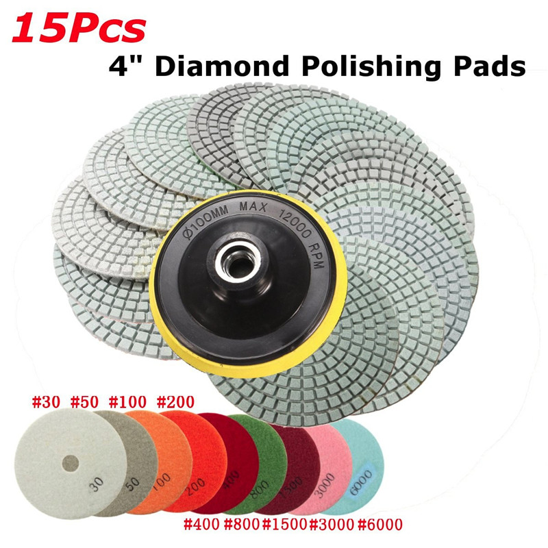 15Pcs/Set 4 Inch 30-6000 Grit Diamond Polishing Pads With Backer Pad REP Sticks Stone Wet Dry Granite Concrete Marble Tools