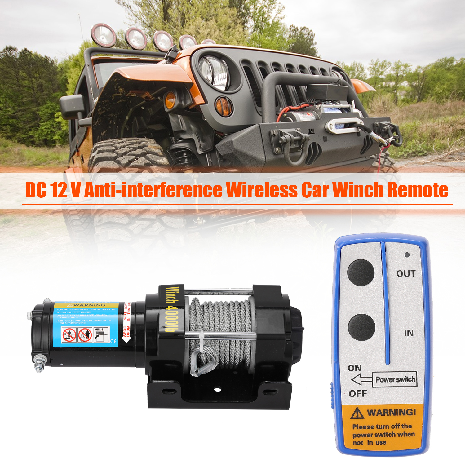 Remote Control Winches лебедка 12v 4000lbs Electric Recovery Winch Kit ATV Trailer Truck Car DC12V Remote Control Winches