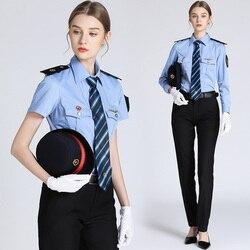 Short a maniche lunghe ad alta velocità ferroviaria abbigliamento Donna biglietto venditore Ferroviario Conduttore uniforme della signora treno assistente di camicie blu