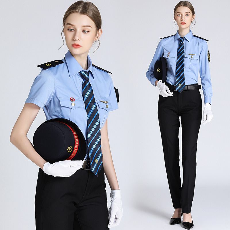 Short Long-sleeved High-speed Railway Clothing Woman Ticket Seller Railway Conductor Uniform Lady Train Attendant Blue Shirts