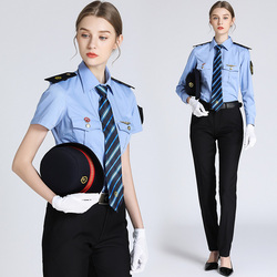Short long-sleeved high-speed railway clothing Woman ticket seller Railway Conductor uniform lady train attendant blue shirts