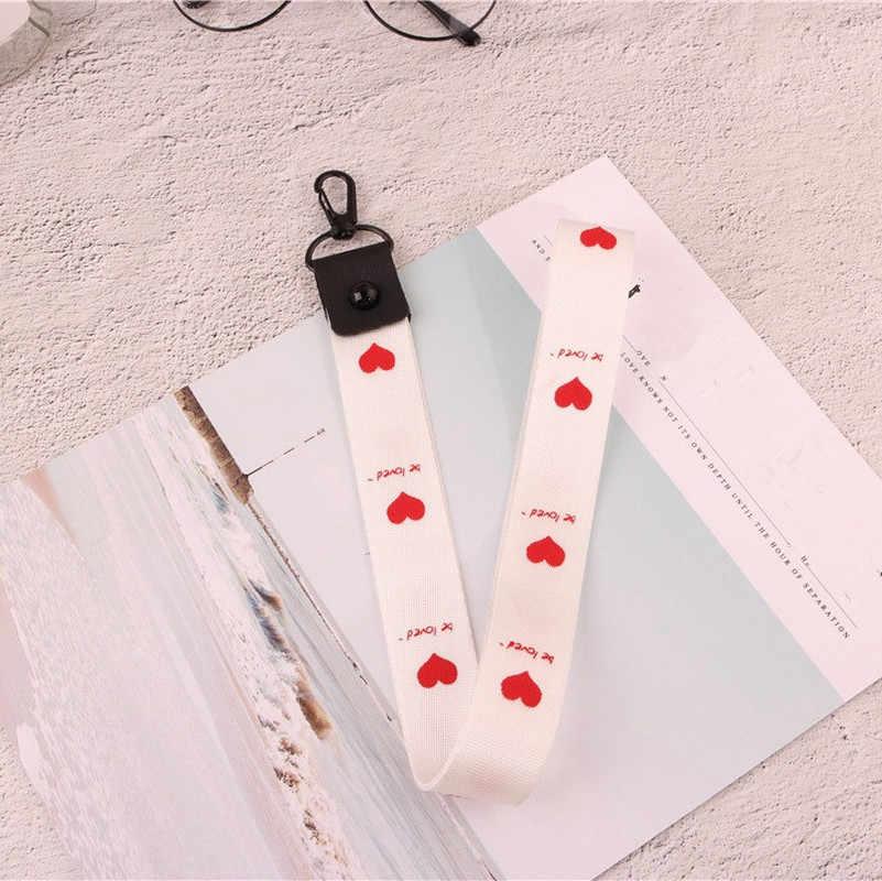2 en 1 hebilla desmontable correas de teléfono móvil negro Rosa lindo amor corazón multifunción teléfono correa para el cuello cordón cuerda al por mayor