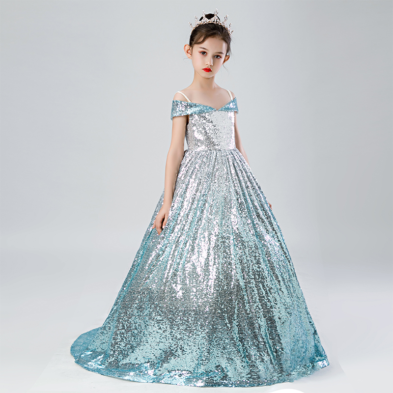 Sparkly Bling Bling Sequin Girls Party Dresses Off Shoulder Light Blue Fade Girls Celebration Pagreant Dresses Custom