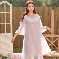Spring Summer Woman Princess Nightgown Lace Sleeve Lace Sleepwear Dress Mesh Patchwork Nightdress