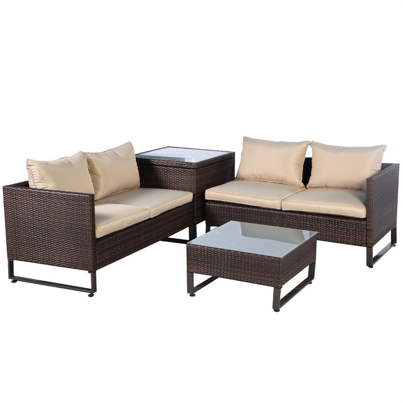 4 Pcs Brown Rattan Wicker Patio Sofa Set With Pragmatic Table Soft Breathable Seat Storage Box Outdoor Patio Furniture HW51601