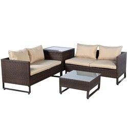 4 sztuk brązowy Rattan wiklinowe Patio zestaw sof z pragmatycznym tabeli miękkie oddychające schowek przy fotelu meble ogrodowe HW51601 na