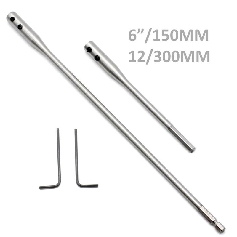 2Pcs Drill Bit Extension Bar 150/300mm For Flat Drill Shaft Hole Extention Hex Deep Tools Connect Holder Bit Rod