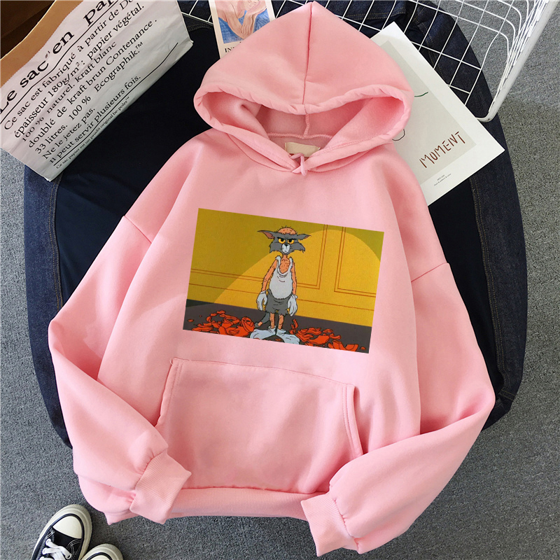 H80083359361048ca85ab010ca15c5e5bX - Harajuku Hoodies for Girls Cat Mouse White&pink Hooded Tops Women's Sweatshirt Long-sleeved Winter Tops Women Hoodies Kawaii