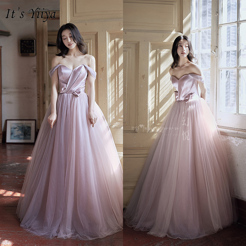 It's Yiiya Evening Dress 2019 Elegant Backless Lace Up Boat Neck Ball Gown Plus Size Princess Party Long Formal Dresses E951