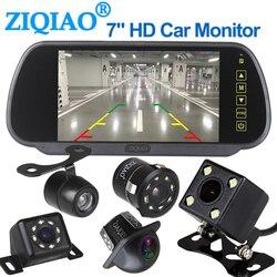 ZIQIAO 7 cal TFT zestaw samochodowy lcd lustro monitory monitor z widokiem z tyłu samochodu w Monitory samochodowe od Samochody i motocykle na
