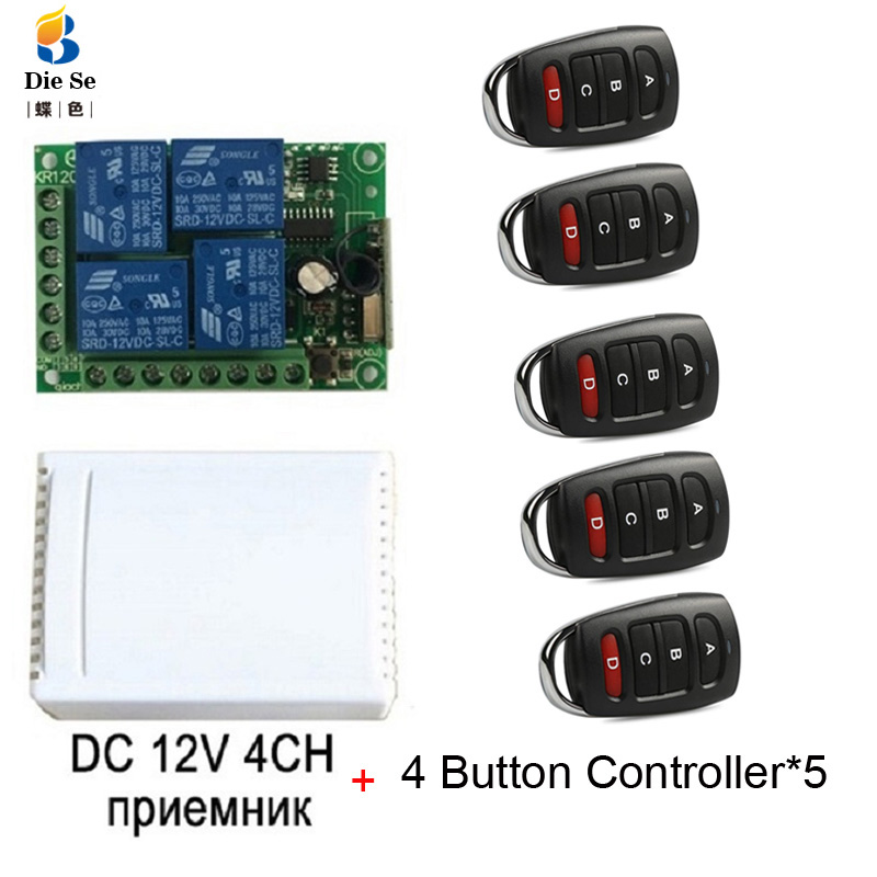 433MHz Universal Wireless Remote Control DC <font><b>12V</b></font> <font><b>4CH</b></font> <font><b>Relay</b></font> Receiver <font><b>Module</b></font> RF Switch 4 Button Remote Control Gate Garage opener image