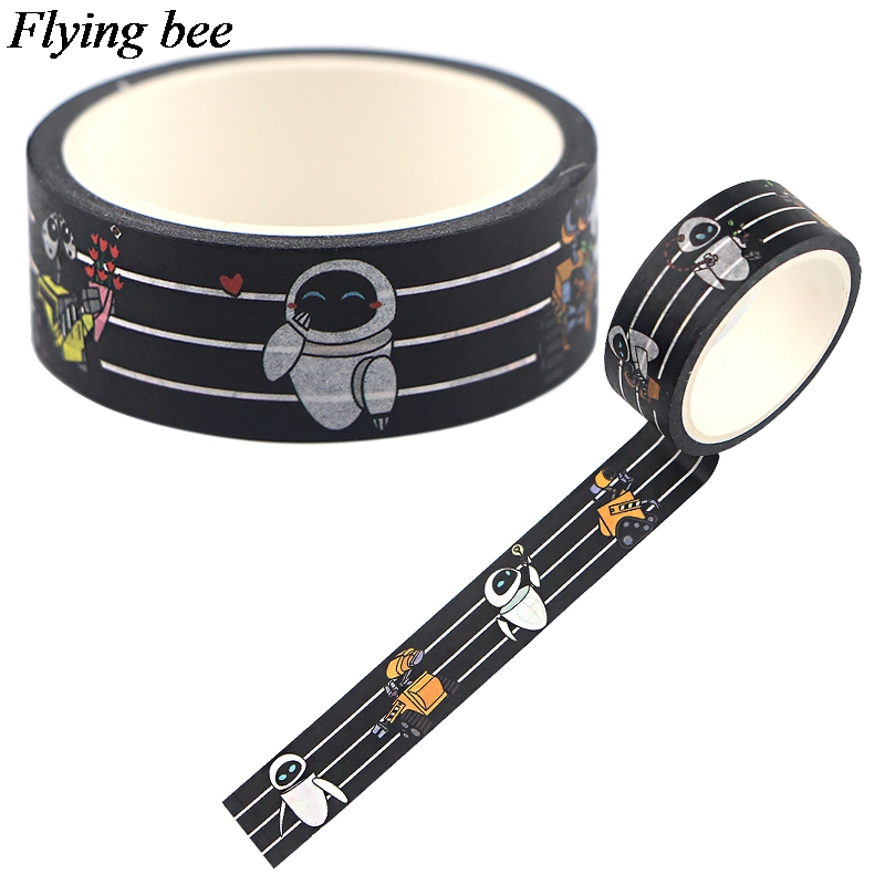Flyingbee 15mmX5m Robot Washi Tape Paper DIY Decorative Adhesive Tape Stationery Fashion  Funny Masking Tapes Supplies X0745