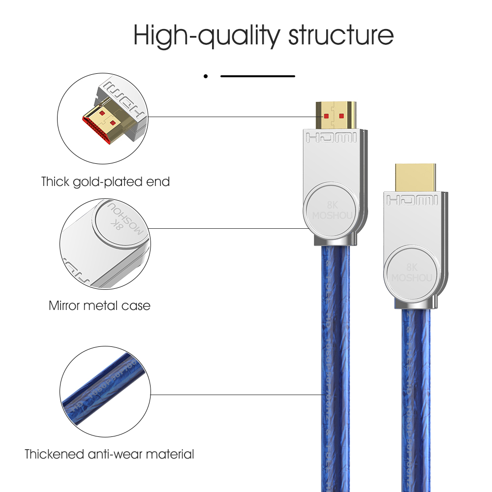 Image 5 - 8K 60Hz HDMI 2.1 Cables 4K 120Hz 48Gbps bandwidth ARC MOSHOU Video 2m Cord High Definition Multimedia Interface for Amplifier TVHDMI Cables   -