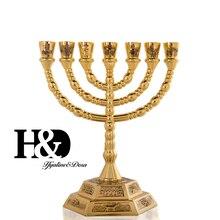 """H & D 7 Zweig Hexagonal Basis 12 Tribes von Israel Menorah in Gold 6.2 """"Heiligen Land Geschenk Jerusalem tempel Hochzeit Geburtstag Dekoration"""