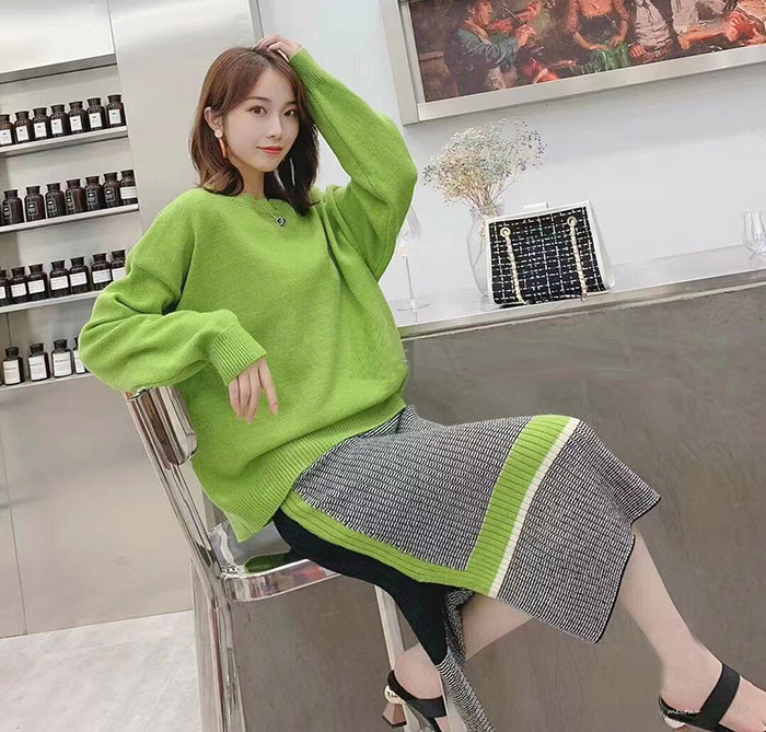 ALPHALMODA 2019 Autumn New Arrived Women Knitting Sweater Skirt Suits Bright Color Youthful Winter Knitting Outfit 2pcs Set 95