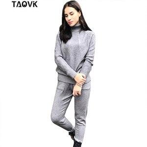Image 5 - TAOVK garnitury z miękkiej dzianiny ciepły sweter kombinezon damski Twist knitting sweter z golfem topy i spodnie luźny styl dres ropa