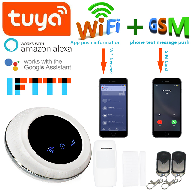 Wofea Wireless SIM GSM Home Burglar Security WIFI GSM Alarm System Sensor Kit Tuya APP Built In Siren