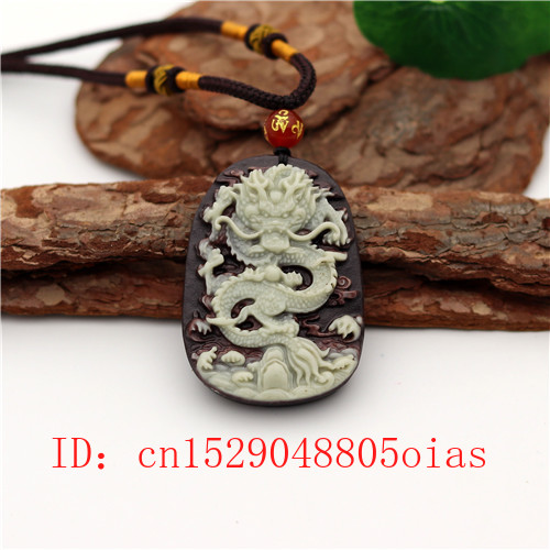 Natural Two color Chinese Jade Dragon Pendant Necklace Charm Jewellery Carved Amulet Fashion Accessories Gifts for Women Men