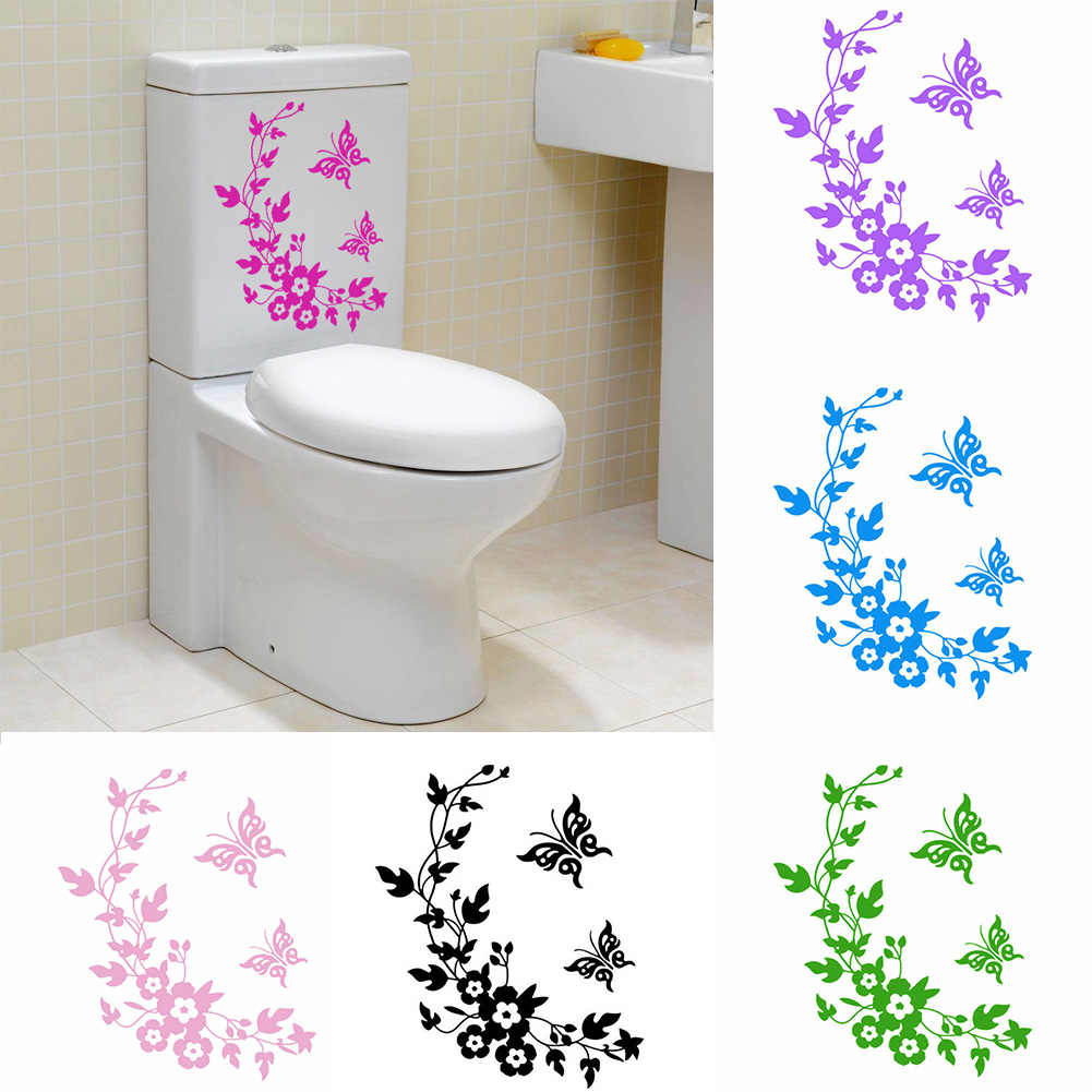 Butterfly /& Floral Vine Adhesive Sticker Toilet Seat Bathroom Wall Sticker