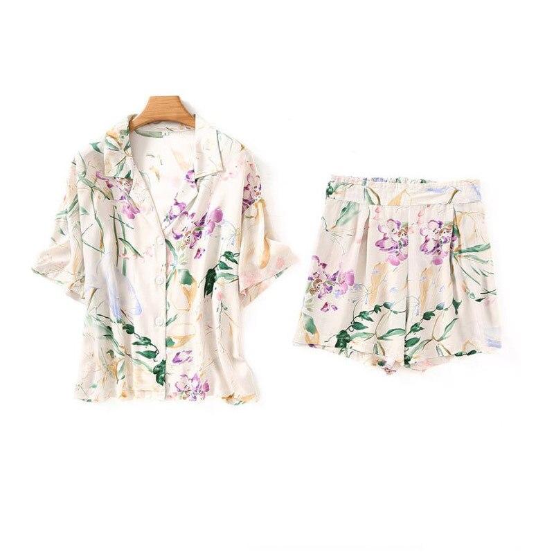 New Flower Printing Short Sleeve Pajama Set Short Pants Sleepwear Loungewear Women Turn-down Collar Satin Home Clothes 2 Piece