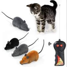1pc gato do animal de estimação ratos brinquedo de controle remoto sem fio eletrônico rato ratos brinquedo de controle remoto gato filhote de cachorro engraçado presente multicolorido