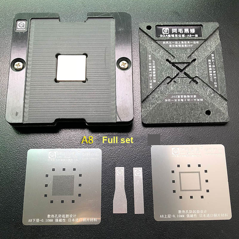AMAOE CPU RAM Magnetic Reballing Platform A8 A9 A10 A11 A12 Reballing Kit With  BGA Reballing Stencil