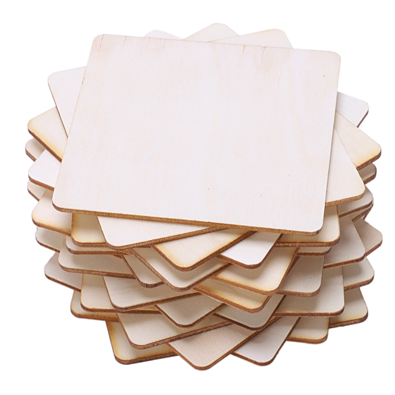20 x Wooden Square Coaster Shapes Large Plain Wood Squares 10cm 100mm by