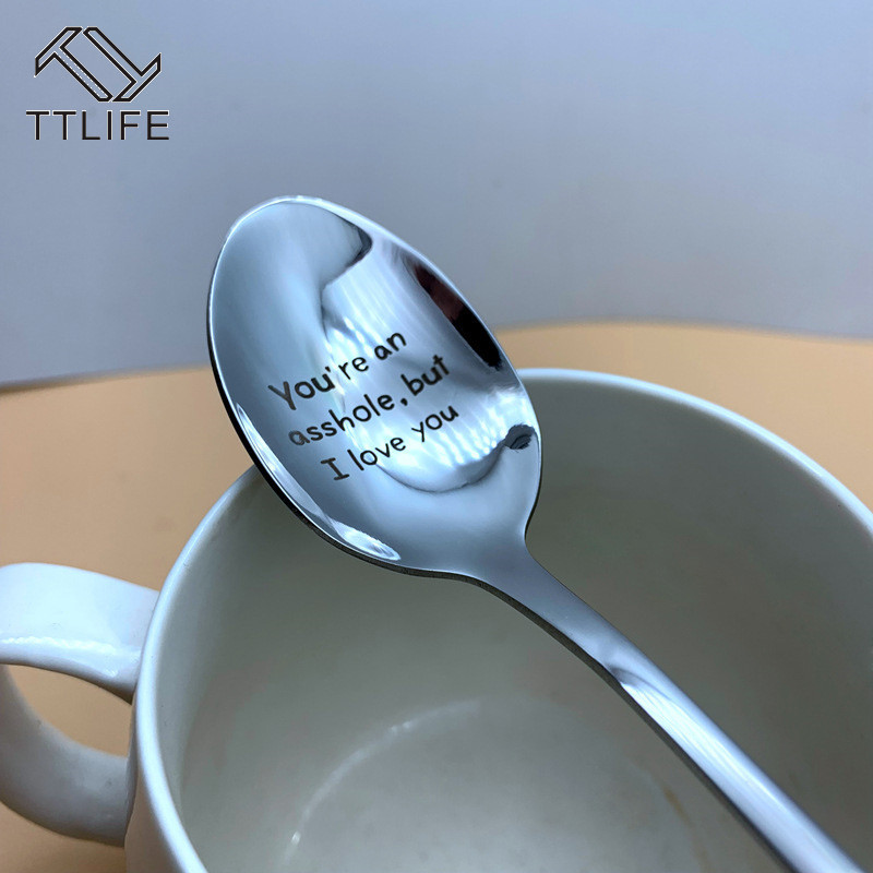 Good Morning Beautiful/Handsome Couples Spoon Long Handle Coffee Tea Ice Cream Tableware Valentine New Year Gift Household Use