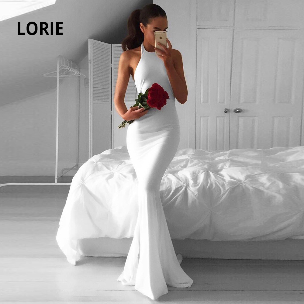 LORIE Simple Cheap White Wedding Dresses Mermaid Spandex Fabric Sleeveless Open Back Halter Bridal Gowns Beach Princess Party