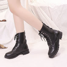 2020 Autumn Winter Leather Black Boots Women'S Martin Shoes Plus Velvet Keep Warm Women Lace Low Heel Snow Boots Short Tube(China)