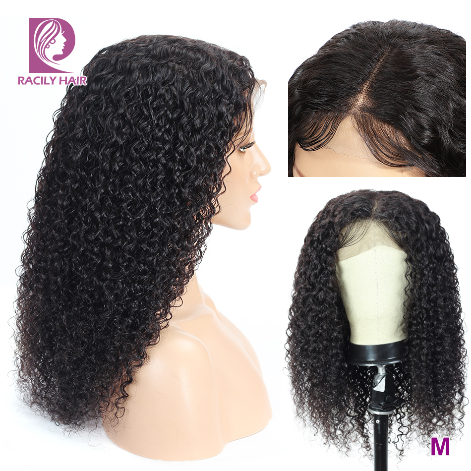 Kinky Curly Human Hair Wig Transparent Lace Wigs For Black Women 13x4 Remy Brazilian Lace Front Wigs 150% Density Racily Hair
