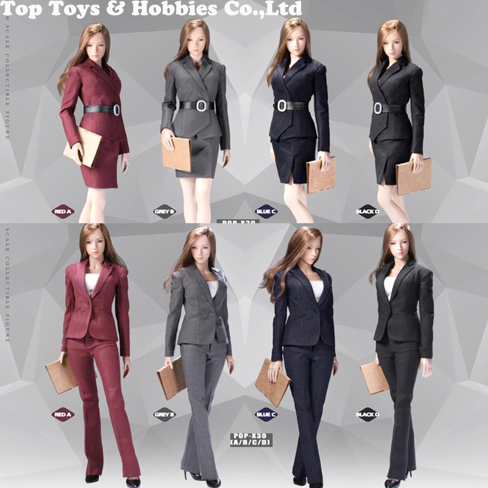 In Stock Gray/blue 1/6 POPTOYS X29 X30 Office Lady Girl Business Suit Skirt /trousers Clothes Set  Fit 12''Figure Body
