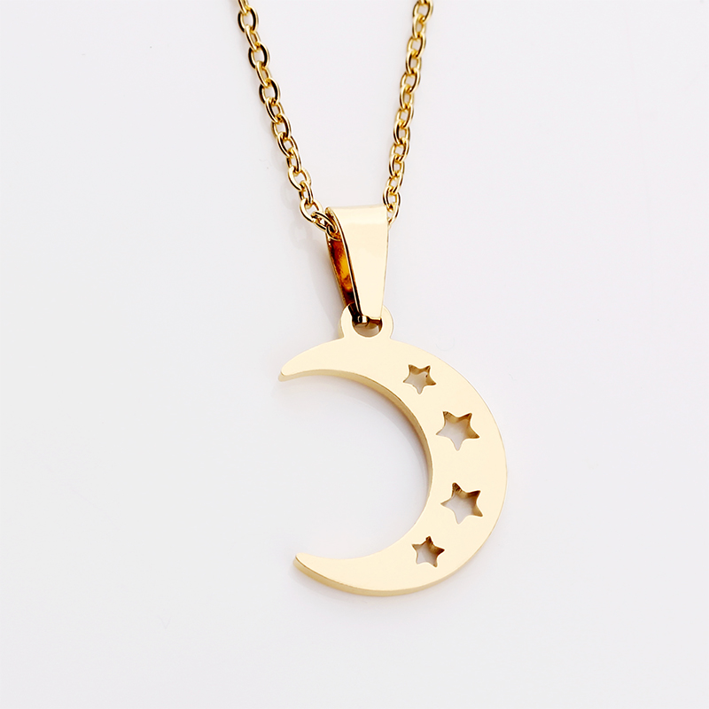 Delicate Simple Star Hollow out Curved Crescent Moon Pendant Stainless Steel Women Necklace Choker Collier Earrings Jewelry Set