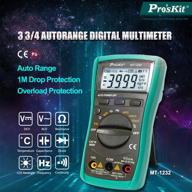 Proskit Autorange Digital Multimeter Backlight LCD Display Transistor Tester Capacitor Tester Temperature Frequency Tester Meter|Multimeters| |  - title=