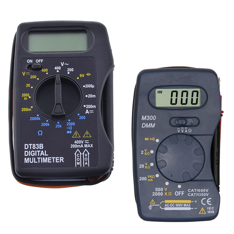 Junejour Universal Digital Multimeter M300 /DT83B Handheld Tip Test Multimeter Tester With Lead Wire Pen Cable Black
