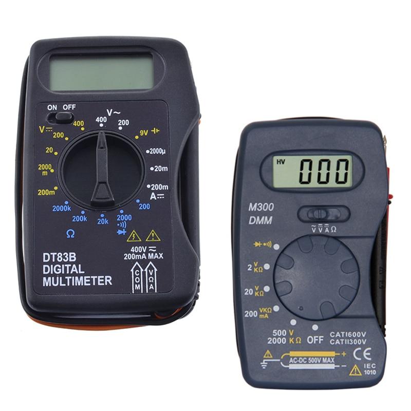 Junejour Universal Digital Multimeter M300 /DT83B Handheld Tip Test Multimeter Tester With Lead Wire Pen Cable Black