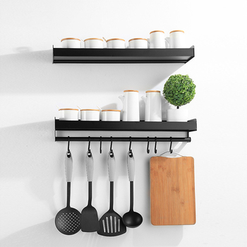 Wall Mounted Kitchen Organizer and Spice Racks with Hooks for Spoon Hanging Made with Aluminum