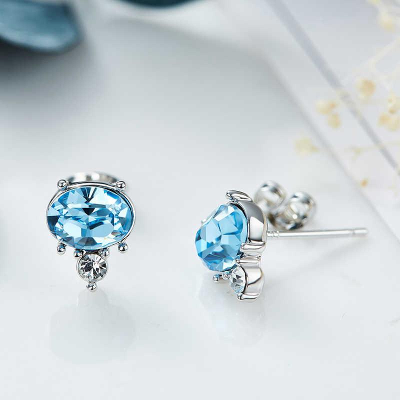 Cdyle, минималистичные милые небесно-голубые серьги с кристаллами Swarovski, детские серьги-гвоздики для девочек, Новое поступление, ювелирное изделие, подарок на день рождения