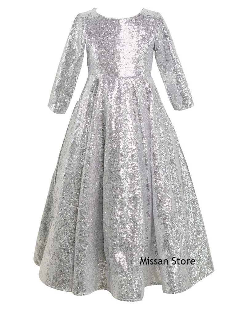 Silver Sequin Flower Girls Dress Little Girls Wedding Party Dress Long Sleeve Kids Holiday Dress