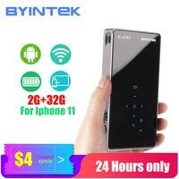 Byintek mini projetor de android 7.1 p9  projetor portátil inteligente de wifi beamer pico pocket de led dlp para cinema 3d de 1080p (2g + 32g)
