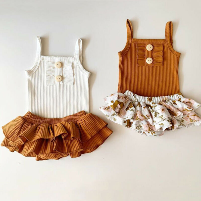 Infant Baby Girl Sleeveless Sling Floral Tops Romper+Tutu Shorts/Skirt Outfit Sunsuit Summer Casual Baby Girl Clothes Set