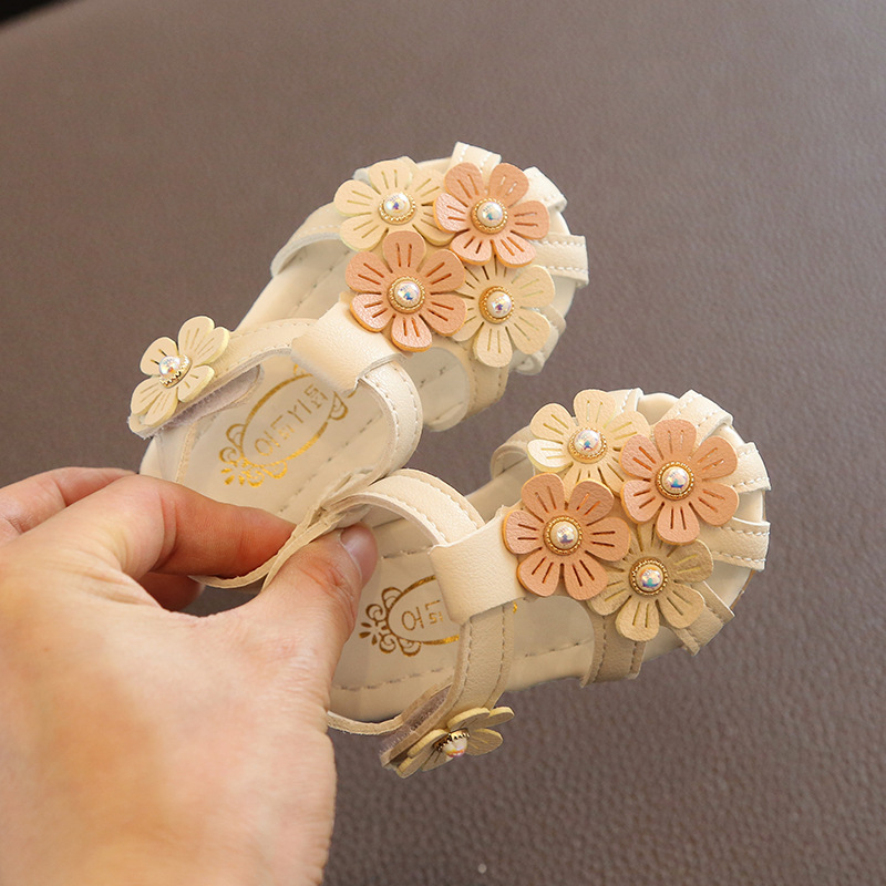 Summer Little Girls Shoes Baby Girls Cute Flower Sandals Kids Shoes Toddler Girls Sandals Infant Baby Shoes Pink White