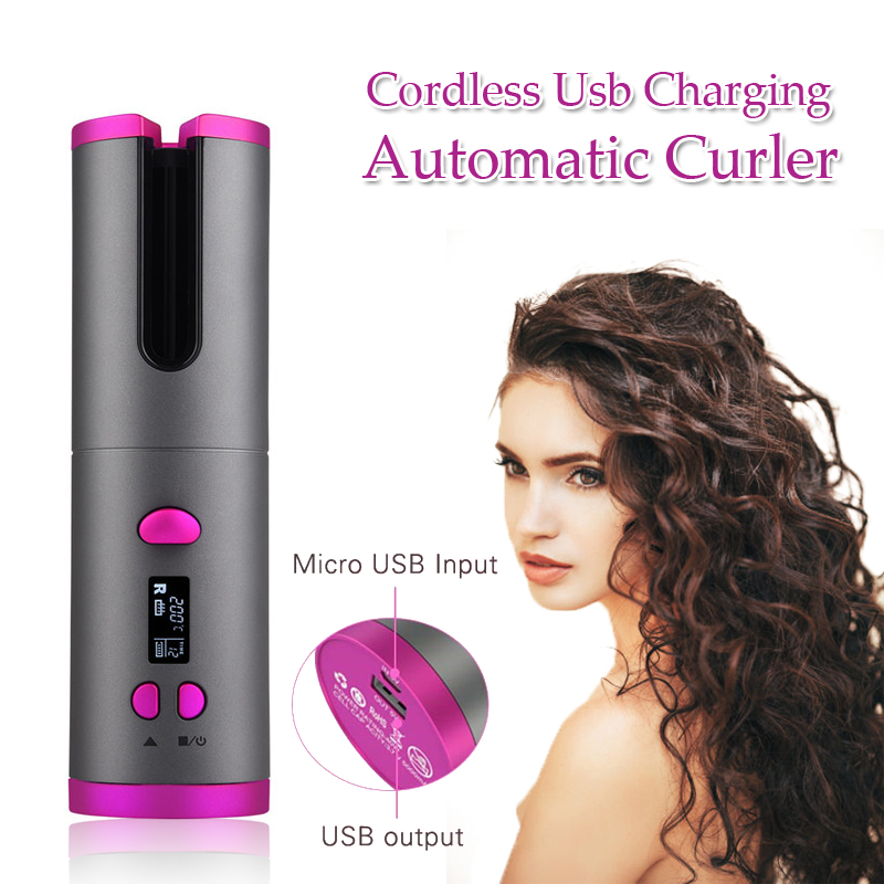USB Cordless Automatic Hair Curler Auto Ceramic Wireless Curling Iron Hair Waver Tongs Beach Waves Iron Curling Wand Air Curler image