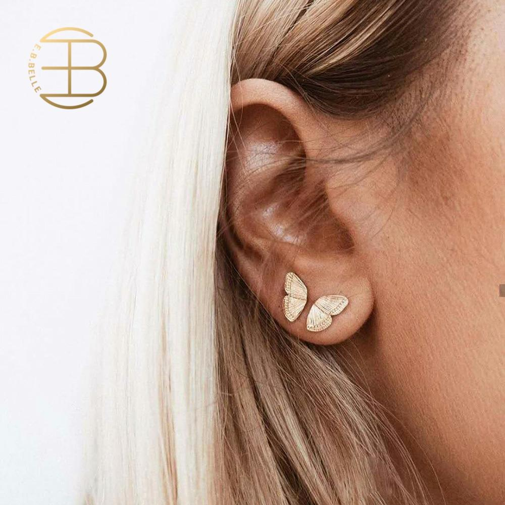 2020 Jewelry Mini Size Gold Butterfly Stud Earrings For Women Ladies Fashion Minimal Personalizied Small Butterfly Studs