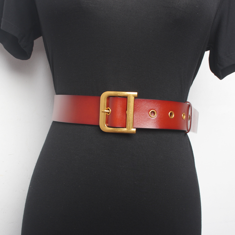 Vintage Fashion Women Belt Solid Round Shape Buckle Classic Black Waist Belt Casual Metal Leather Female Long Belts