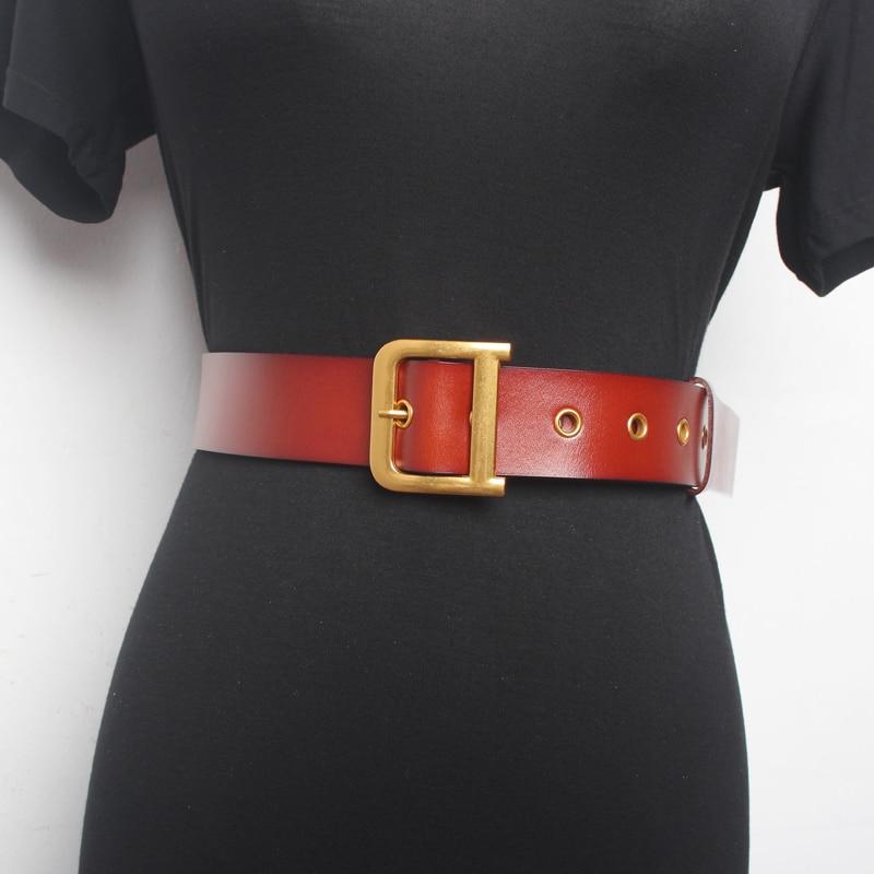 Vintage Fashion Women Belt Solid Round Shape Buckle Classic Black Waist Belt Casual Metal Leather Female Long Belts