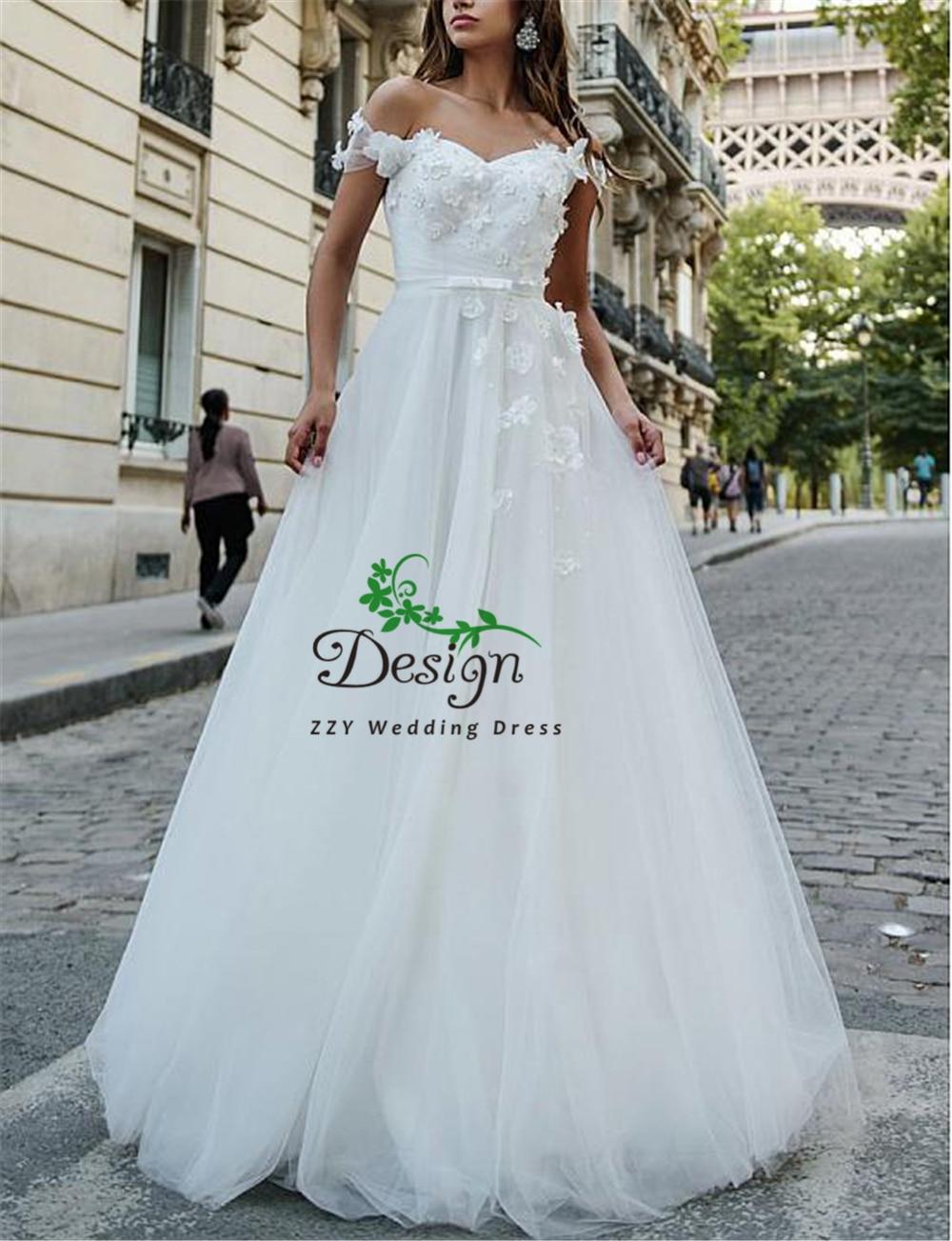 White Tulle 3D Flowers Sweetheart Neckline Illusion Princess Ball Gown Court Train Plus Size Wedding Dress Vestido Casamento