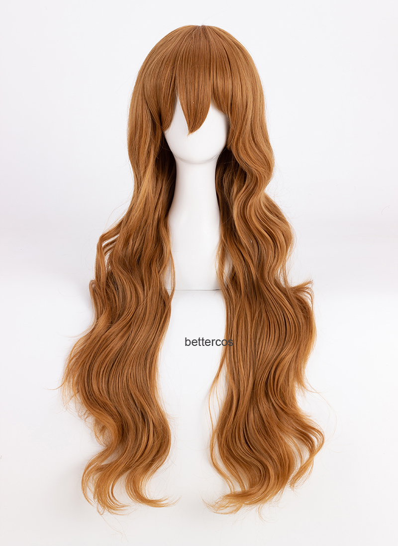 TIGER DRAGON Toradora! Aisaka Taiga Cosplay Wigs 80cm Long Linen Brown Wavy Heat Resistant Synthetic Hair Wig + Wig Cap