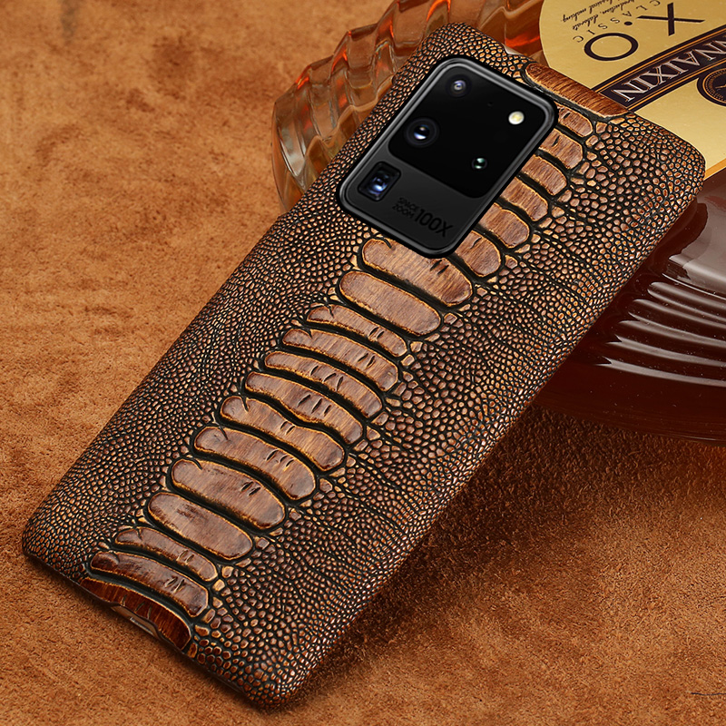 LANGSIDI Genuine Leather Smartphone Phone Case For Samsung Galaxy S20 S20 Plus S20 A50 A51 S10 Plus Ultra Back Cover Ostrich Feet Grain